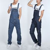 NEW Men's Denim Jeans Overall Multi Pocket Loose Casual Pants Trousers Jumpsuit