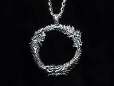 The Elder Scrolls Online Pendant, Ouroboros, silver-plated brass, handmade
