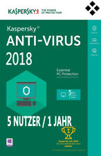 Kaspersky Anti-Virus 2018 - 5 Nutzer 1 Jahr Vollversion Upgrade Download Key EU