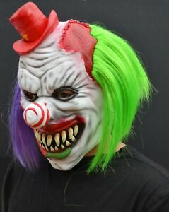Scary Halloween Clown Mask with Hair Costume Party Cosplay Jokester Psycho Clown