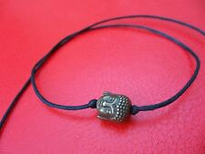 Black thin string tie & leave on bronze buddha head bracelet india karmastring