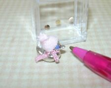 "Miniature Silver Duck Bank w/PINK Cap/Scarf, Silver ""Coins"": DOLLHOUSE 1/12"