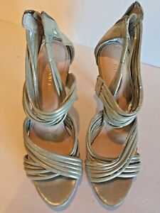 GIANNI BINI  Leather Strappy Silver stiletto Heel Size 8.5M Woman's Shoe