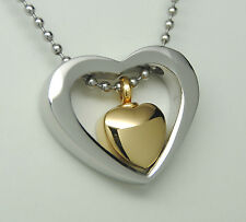 CREMATION JEWELRY FLOATING SILVER GOLD HEART URN NECKLACE MEMORIAL KEEPSAKE URN