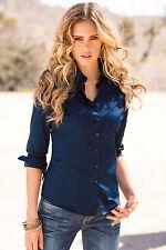 Womens Ladies Slim Fit Long Sleeve Cotton Casual Blouse Shirt Top Fashion Blouse