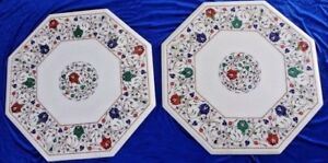 """24"""" Set of Two White Marble Semi Precious Stones Table Top Inlay Handicraft Work"""