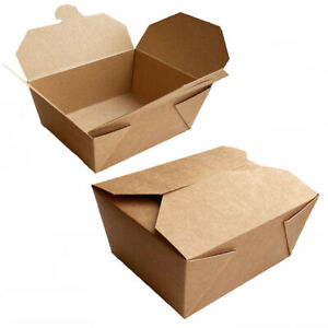 Kraft Compostable Biodegradable Disposable Takeaway Food Boxes - Pick a Size