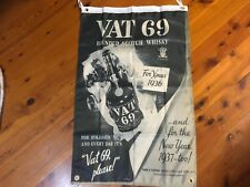 Vat 69 scotch wall hanging games room bar man cave pool room flag poster