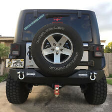 Fit 2007-2018 Jeep Wrangler JK New Black Textured Iron Steel Rear Bumper