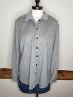 J. Jill Women's Shirt Gray Corduroy Floral Texture Large Button Up