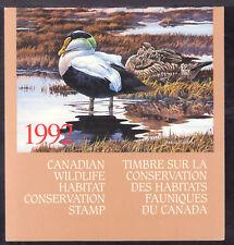 CANADA WILDLIFE HABITAT BOOKLET #FWH8 $8.50, 1992 EIDER DUCK