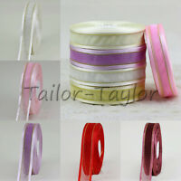 10/20/50 Yards 25mm Gold Edge Sheer Ribbon Hair Bow Wedding Decoration Craft DIY