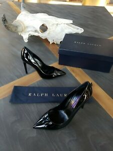 New RALPH LAUREN Collection Celia Black Patent Leather Pumps Shoes Heels 39B