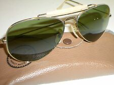 1960's 58-14mm VINTAGE B&L RAY BAN RB3 TRU GREEN OUTDOORSMAN AVIATOR SUNGLASSES