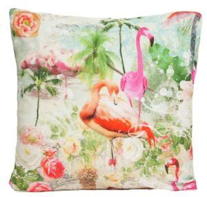 "Flamingo Cushion Cover Green Yellow Orange Pink Birds Pineapple 16"" 18"" 20"" 22"""