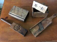 Primitive Lot - 2 Wooden Country Butter Mold Stamp Press, Slicer, Lemon Squeezer