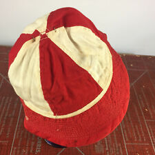 Vintage 40s 50s Red and White Boonie Womens Bucket Hat Cap Distressed Chain Stit