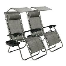 Lot2 Zero Gravity Patio Lounge Beach Recliner Chairs w/ Canopy Cup Holder Garden