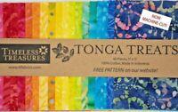 """Timeless Treasures Fabrics """"PLAY"""" Tonga Treats Rainbow Batiks, 40 Piece Charm Pk"""