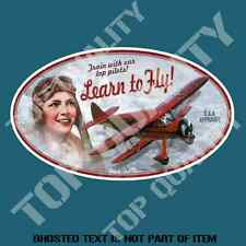 LEARN TO FLY Decal Sticker Vintage Retro Americana Hot Rod Rat Rod Stickers