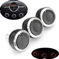For Mazda 2 Demio 3pc A/C Switch Knob Heater Climate Control Buttons Dials Frame