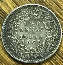 1862 BRITISH INDIA 2 TWO ANNAS SILVER COIN VICTORIA QUEEN KEY DATE