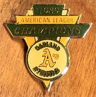 Vintage 1989 Oakland Athletics A's American League Champions Lapel Hat Pin ~MLB