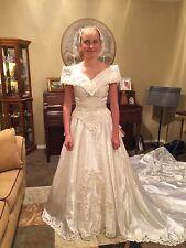 Wedding Dress, Vintage 80's Off-shoulder With Long Train, Lace Gloves, SALE!!