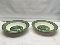 Green Colonial Homestead Royal China Co1950s  Rimmed Soup Bowls  set 2