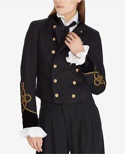 POLO RALPH LAUREN Velvet-trim Military-inspired Jacket In Black Size XS