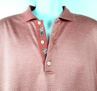Bobby Jones Collection Golf Polo Shirt Men's Size Large Pink Made in Italy