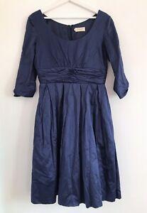 Toast NWOT Blue Cotton Metallic 3/4 Sleeve Ruched Dress Size 10