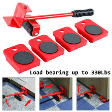 New! 5pc Heavy Furniture Moving System Lifter Tool 4x Slide Pad Wheel Easy Move