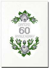 DIAMOND (60) ROSES ANNIVERSARY CROSS STITCH CARD KIT
