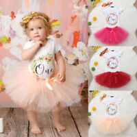 Baby Girl 1st Birthday Outfit One Year Party Cake Smash Tutu Skirt Clothes Set