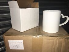 BOX OF 36  11oz WHITE SUBLIMATION MUGS WITH HEART HANDLES. HIGHEST QUALITY