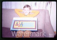 1971 Kodachrome photo slide Boy with play tiles