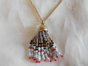 J. Crew Seed Glass Beaded Tassel Pendant Necklace, Signed, NWT