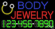 """New """"Body Jewelry"""" 32x17 w/Your Phone Number Solid/Animated Led Sign 25050"""