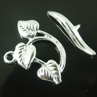 Finding Clasps, Toggle 3 Leaf  Silver Plated jewellery making  x 10 Set K378