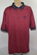 Vtg La Mode Micro Stripe Crest Lions Collared Shirt Red Mens Xxl Made in Usa