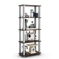 5-Tier Multi-Functional Shelves Storage Display Bookshelf Home Office Walnut