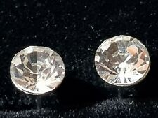 PUNK ROCK WHITE SAPPHIRE  Coloured CZ Stainless Steel Earrings Studs 6.MM