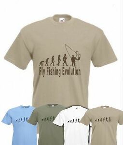 Evolution To Fly Fishing t-shirt Funny Angling T-shirt sizes Sm To 2XXL