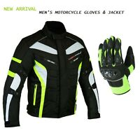 Motorcycle Racing Summer Gloves & Motorbike Waterproof Cordura Jacket Ce Armour