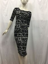 Zack London 10 fits 10 12 14 3/4 Sleeves Knitted Black and Grey Long Dress