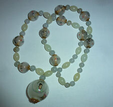 Vintage Chinese Quartz Bead & Inside Painted Bead Buddhist Monk Necklace