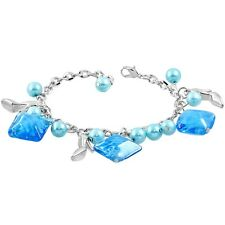 Turquoise Pearl Square Glass Bead Shoe Charm Bracelet nickel free jewellery UK