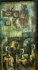 LUIS TOLEDO-Mexican Modernist-Original Signed Oil-Cubist Style Figures & Puppets