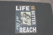 Large Beach Photo Frame Blue Wooden Distressed Nautical Shabby Vtg Chic 5 X 7